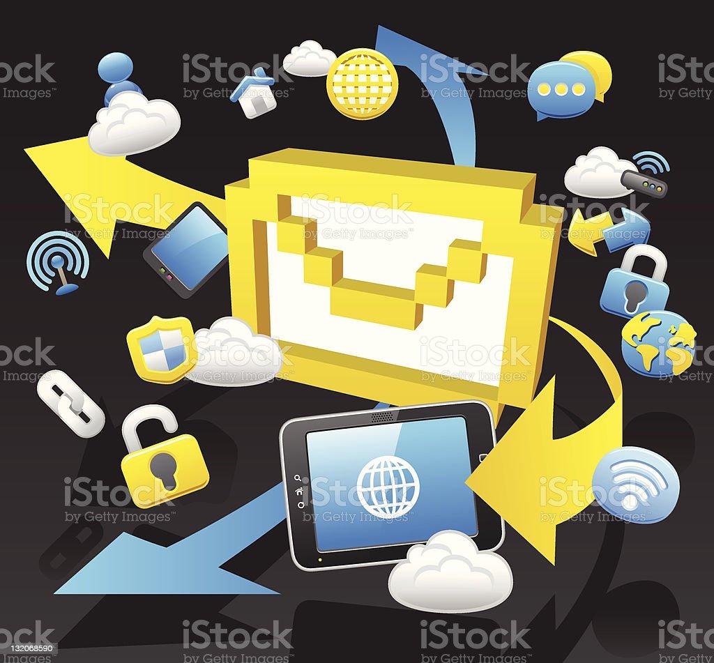 Communication & Cloud computing royalty-free stock vector art
