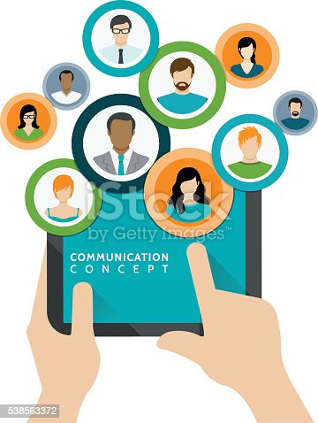 Vector iluustration of the communication and business concept.
