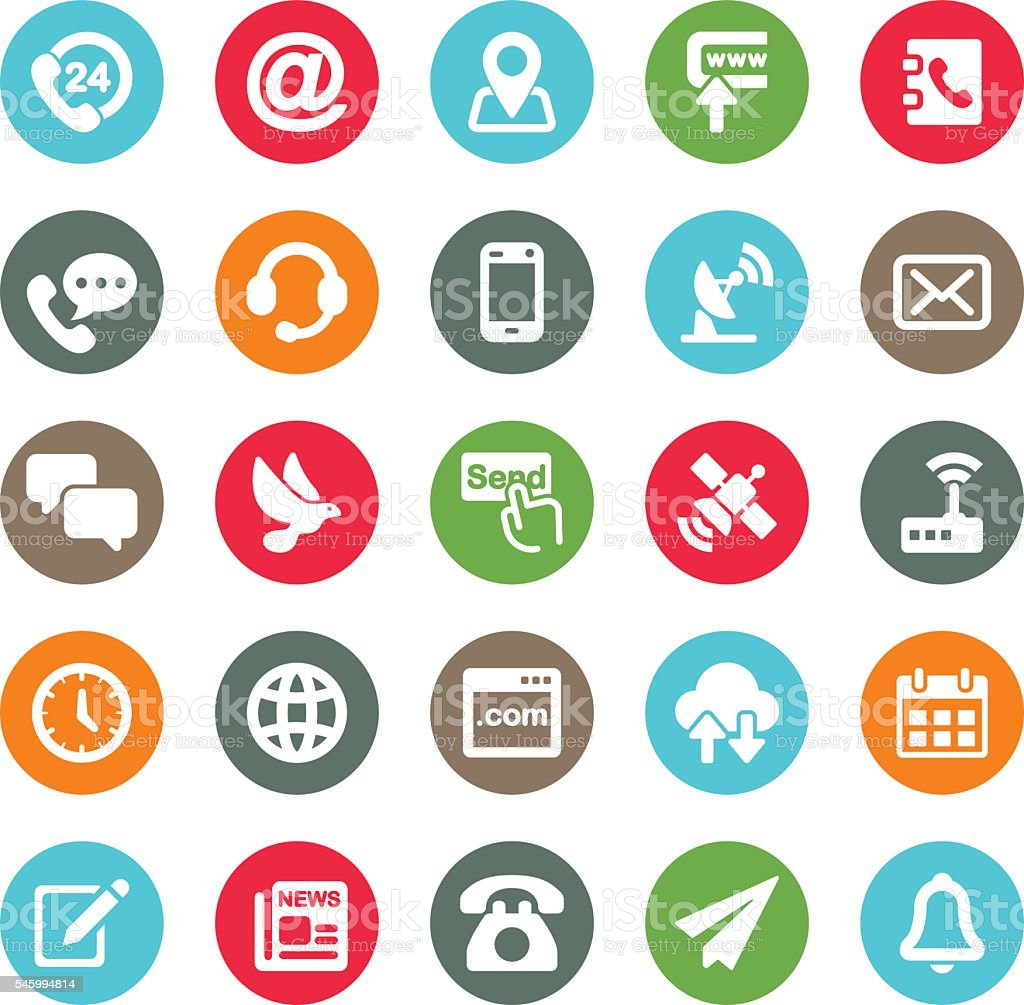 Communication and Contact Circle Colour Harmony icons | EPS10 vector art illustration
