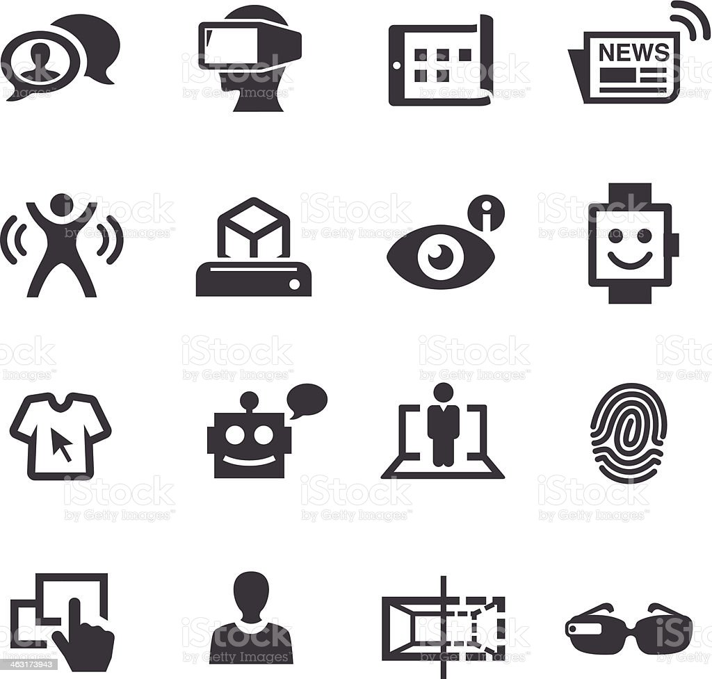 Communication and Digital Technology Icons - Acme Series royalty-free communication and digital technology icons acme series stock vector art & more images of 3d printing