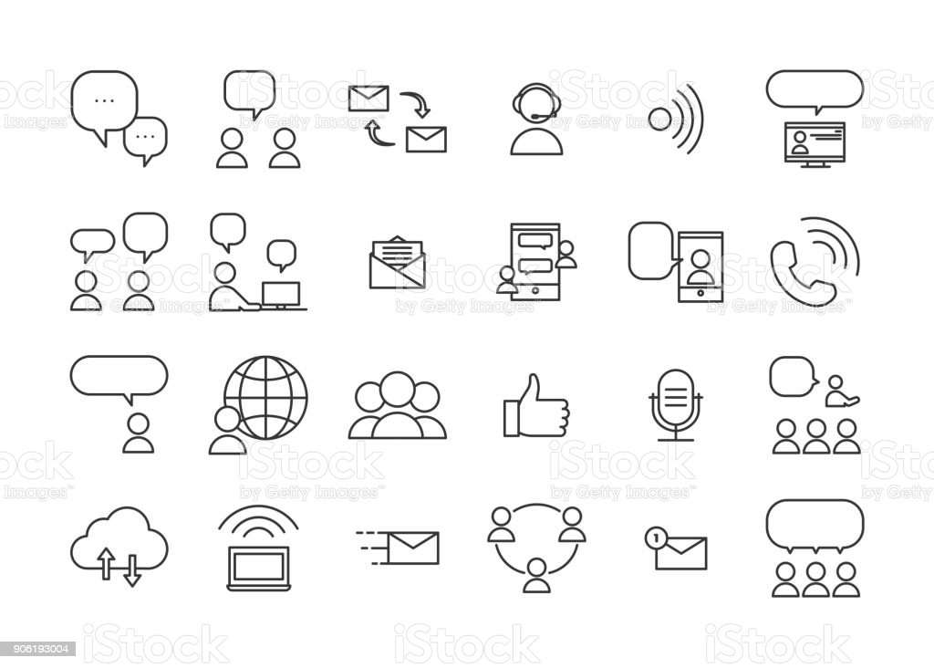 Communication and interaction icons. Vector thin line pictograms of ways of communicating and sharing information through real life interactions or technology devices. vector art illustration