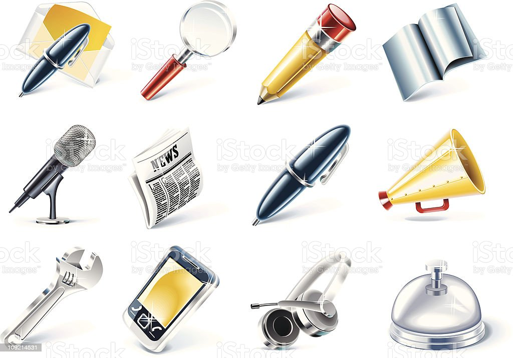 Communication and media icon set royalty-free stock vector art