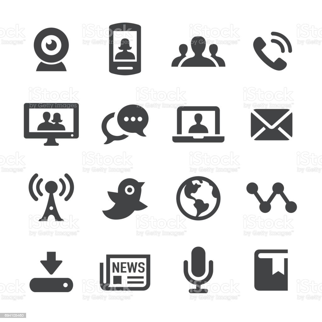 Communication and Media Icons - Acme Series vector art illustration