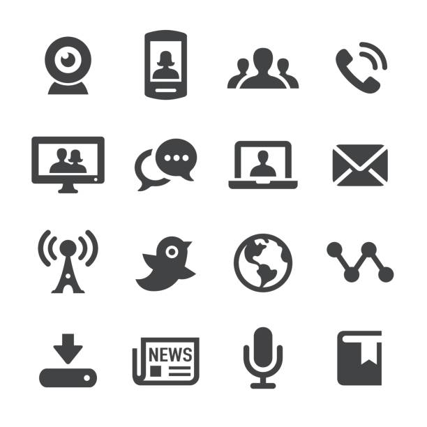 Communication and Media Icons - Acme Series Communication and Media Icons broadcasting stock illustrations