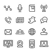Communication and Media Icons - Line Series