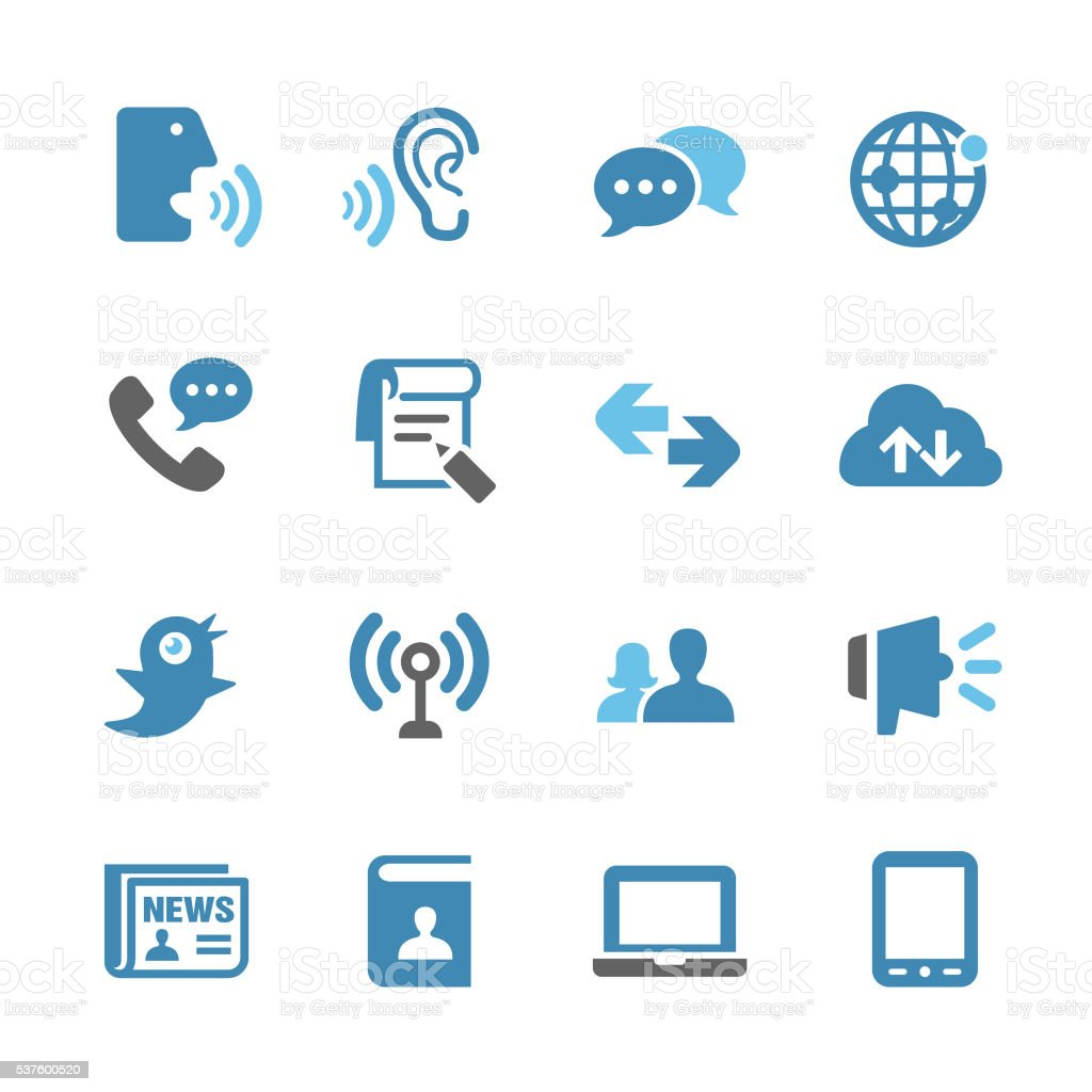 Communication and Media Icons Set - Conc Series vector art illustration