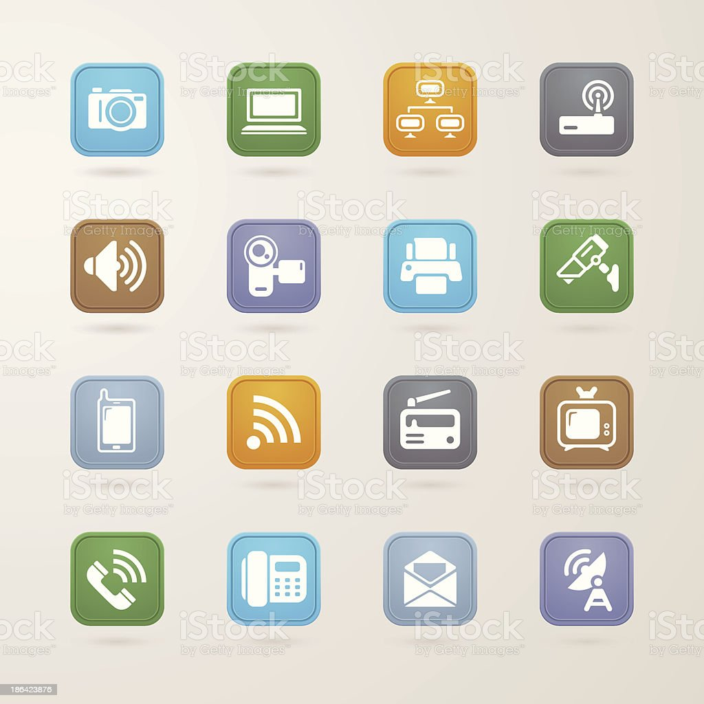 Communication and media icons set royalty-free stock vector art