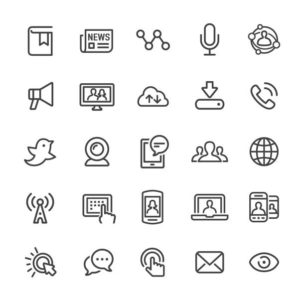 communication and media icons - smart line series - podcast stock illustrations