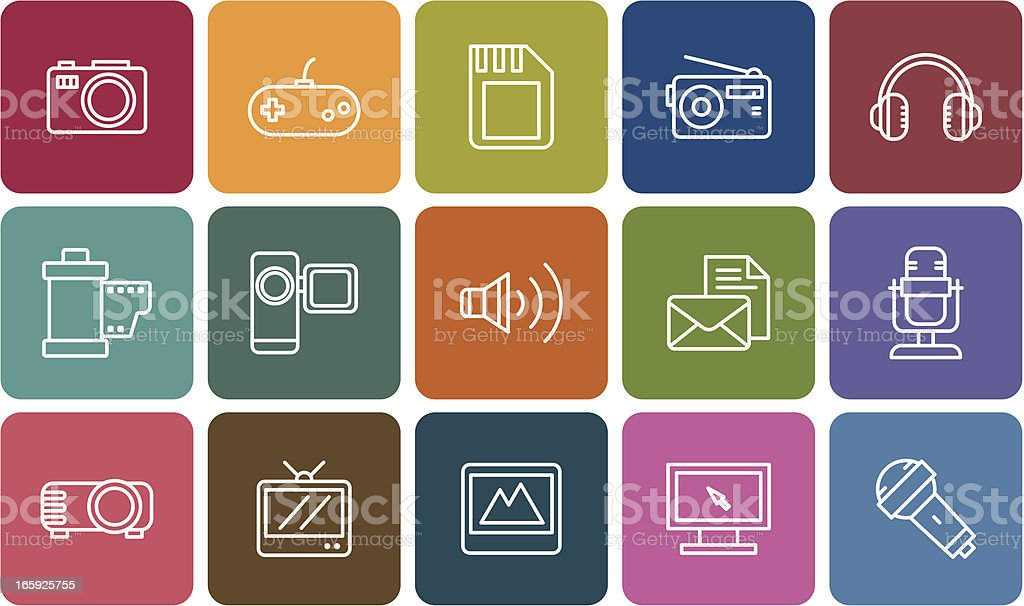 communication and media icons royalty-free stock vector art