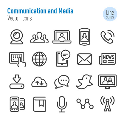 Communication and Media Icons - Vector Line Series