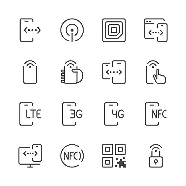 stockillustraties, clipart, cartoons en iconen met communication and mobile data icons 1 | black line series - onderweg