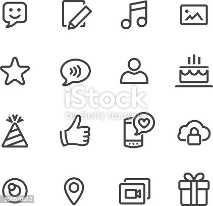 Communication And Social Media Icons Line Series Stock