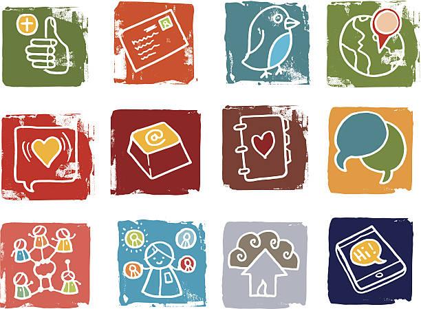 Communication et Ensemble d'icônes de réseaux sociaux - Illustration vectorielle