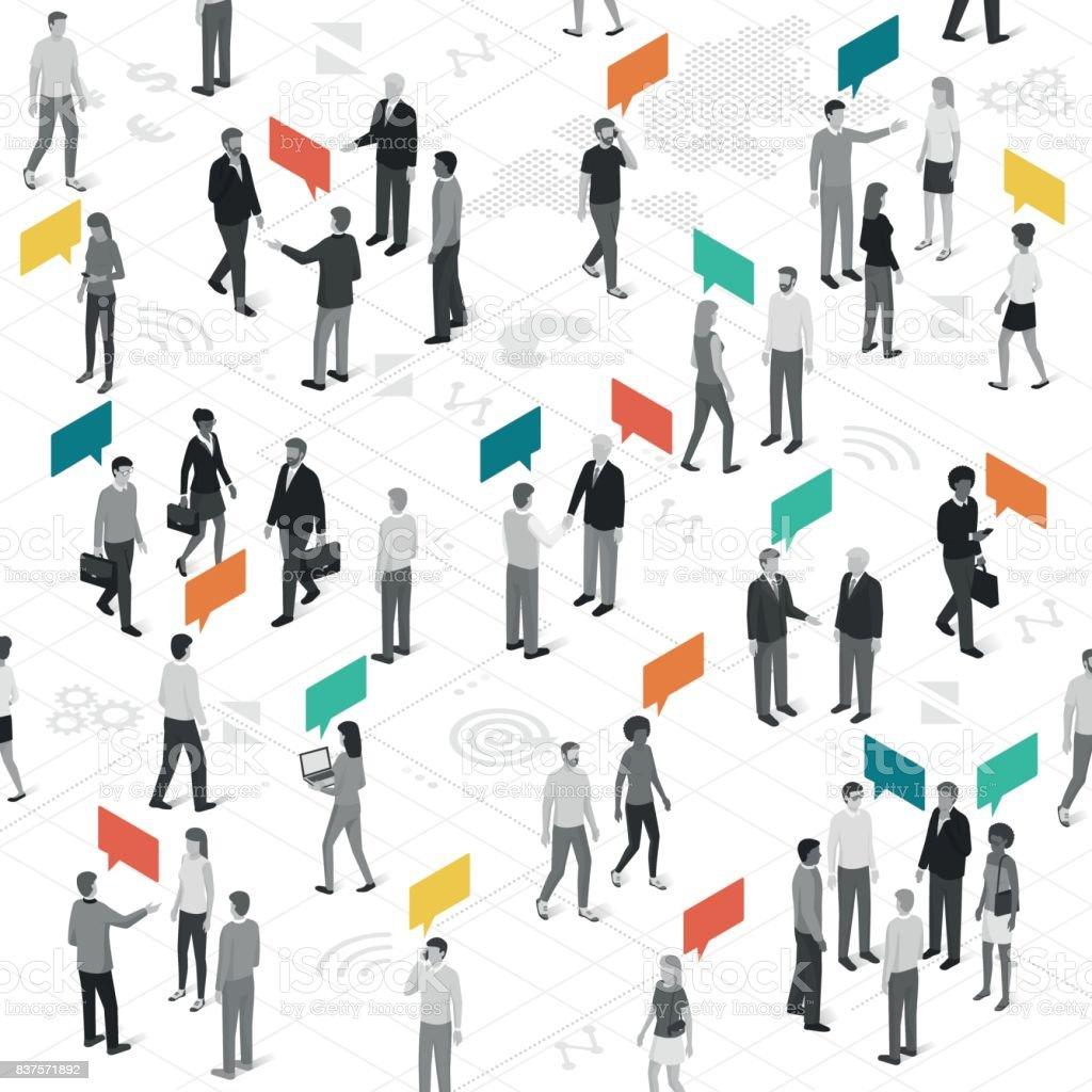 Comunicación y redes sociales - ilustración de arte vectorial