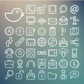 Communication and transportaion icon set Retina