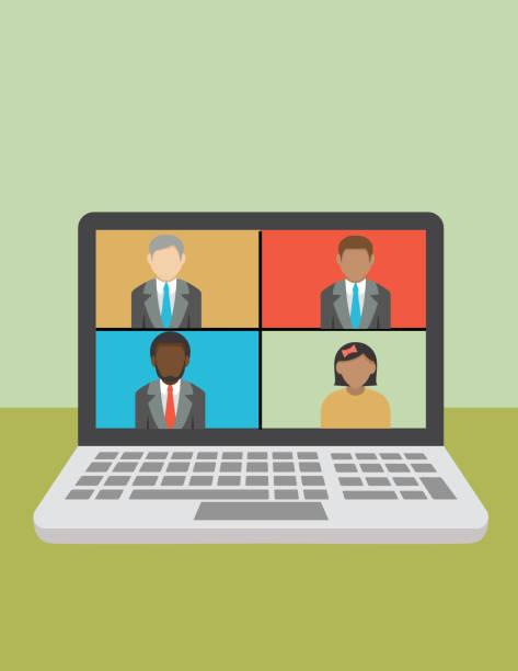 ilustrações, clipart, desenhos animados e ícones de e- comunicação e videoconferência - e-learning not icons