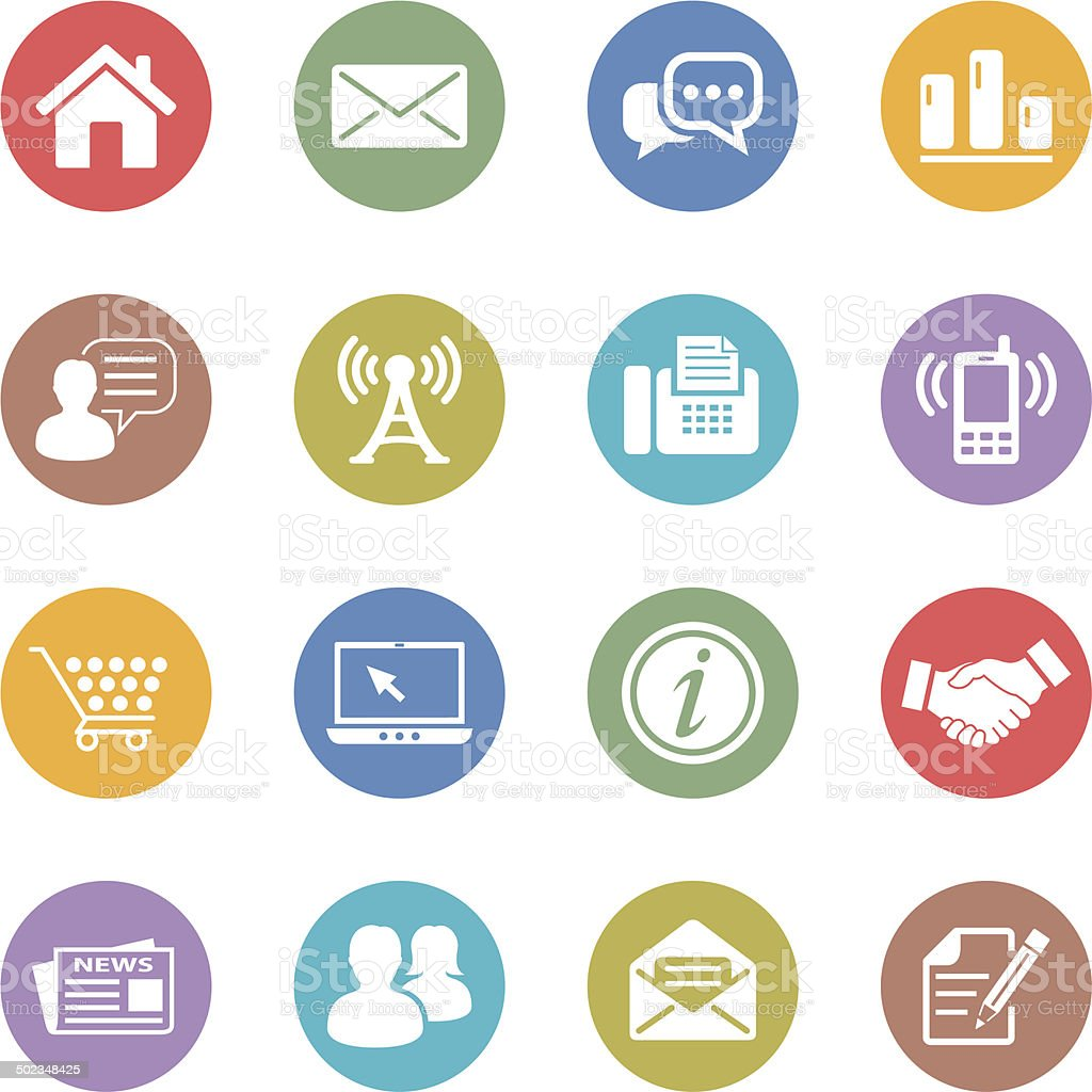 communication and web icons vector art illustration