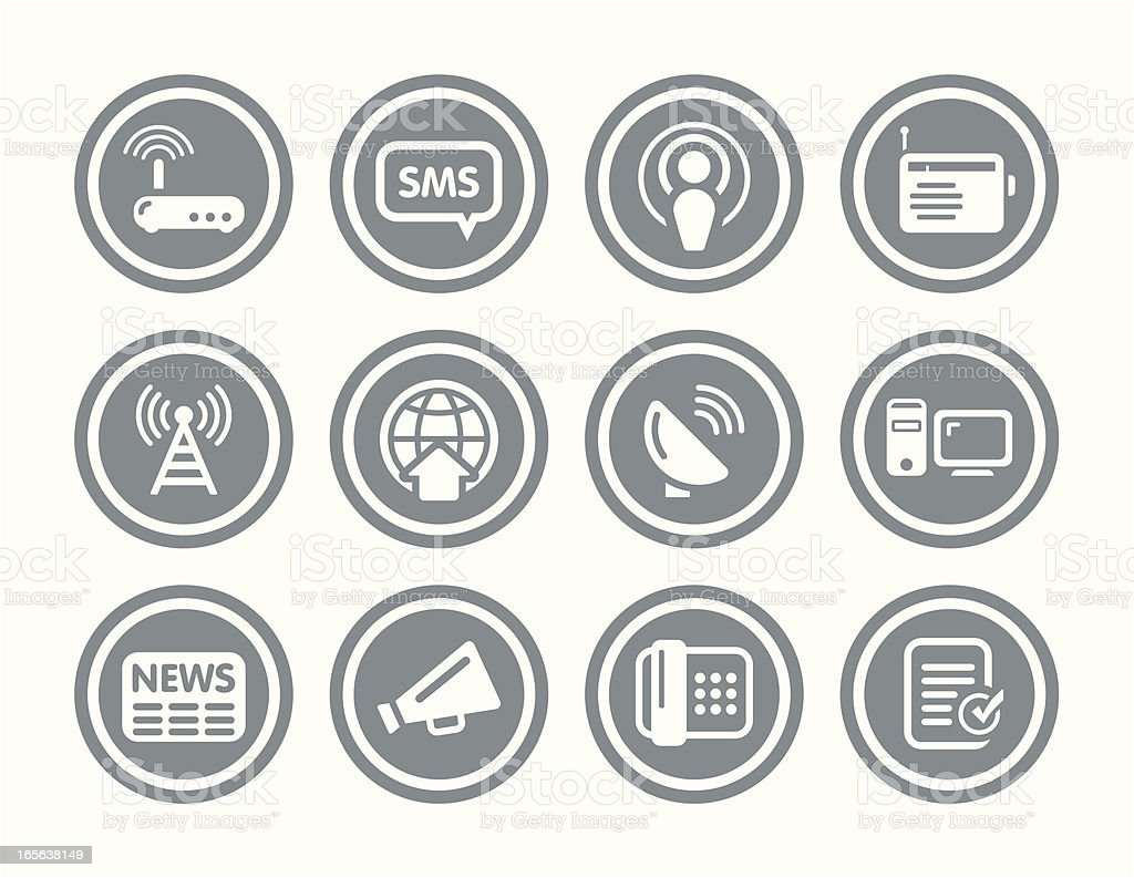 Communication and Wireless Icon Set royalty-free stock vector art
