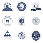 The vector file of communication badges set.