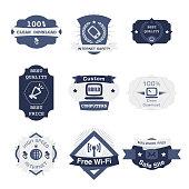 The vector file of communication badges set.