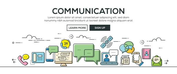 Communication banner and icons Communication banner and icons call centre illustrations stock illustrations