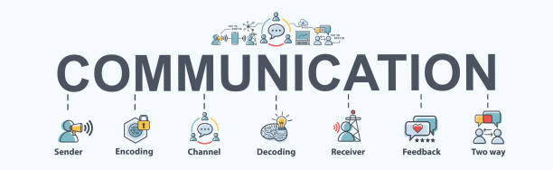 Communication banner web icon for business, sender, encoding, channel, decoding, receiver and feedback. Minimal vector infographic. Communication banner web icon for business, sender, encoding, channel, decoding, receiver and feedback. Minimal vector infographic. wide receiver athlete stock illustrations