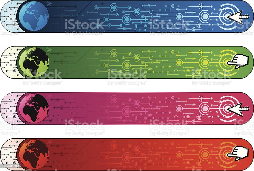 Communication banners with earth vector art illustration