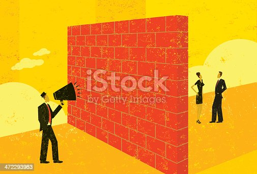 A businessman shouting at a brick wall which represents a barrier to his ability to reach potential clients.  The people & brick wall and the background are on separate labeled layers.