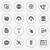 Communication black icons on stickers. Flat design.