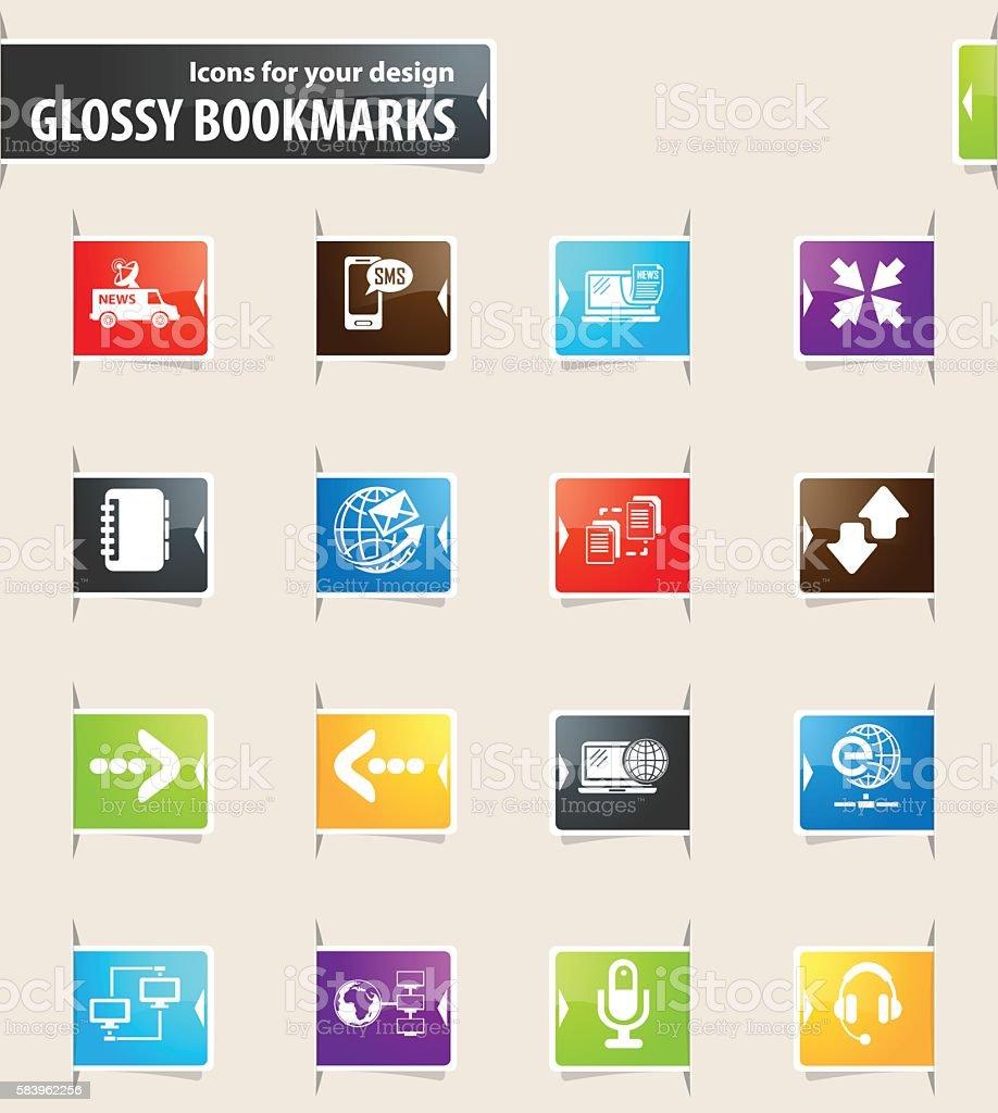 Communication Bookmark Icons – Vektorgrafik