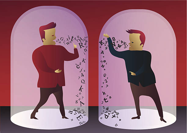 communication breakdown: two men unable to understand each other - communication problems stock illustrations, clip art, cartoons, & icons
