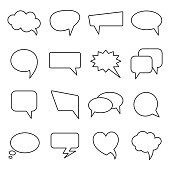 Communication bubbles icons. Vector speech line balloons.