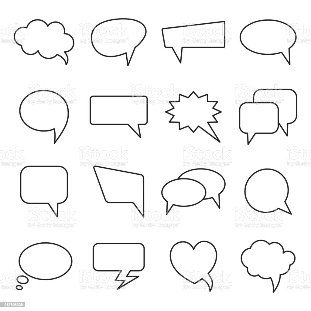 Communication bubbles icons. Vector speech line balloons. vector art illustration