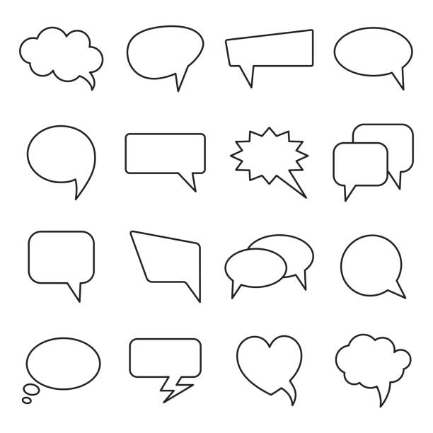 communication bubbles icons. vector speech line balloons. - speech bubble stock illustrations, clip art, cartoons, & icons