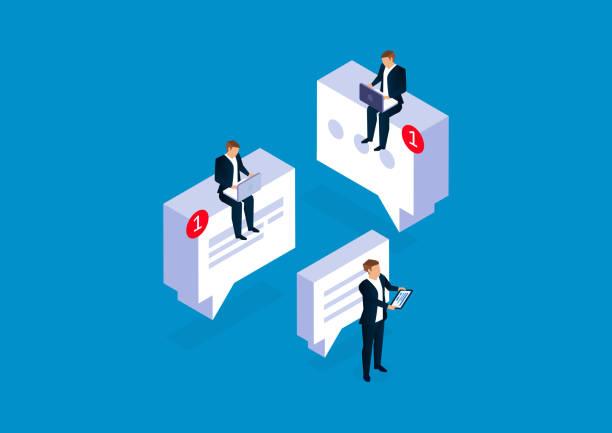 Kommunikation, Geschäftsleute führen Netzkommunikation und Kommunikation durch – Vektorgrafik