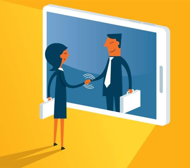 ilustrações de stock, clip art, desenhos animados e ícones de communication - businesswoman - job interview