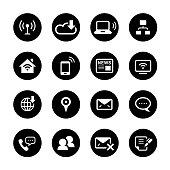 An illustration of communication circle icons set for your web page, presentation, apps & design products. Black & white design and has a metal frame that makes it look dazzling. Vector format can be fully scalable & editable.