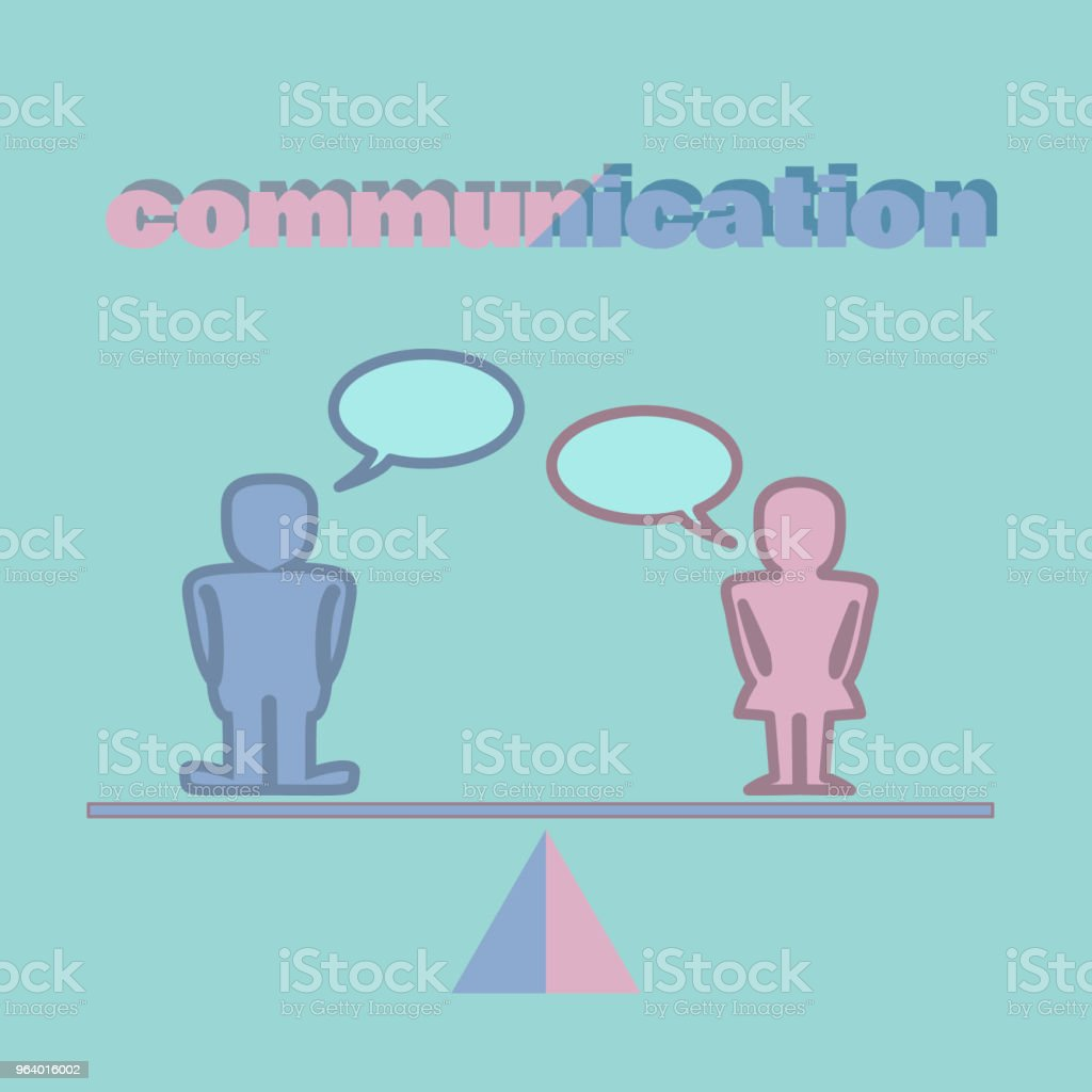 Communication concept illustration - male and female figurines with speech bubbles standing on a scale - Royalty-free Adult stock vector