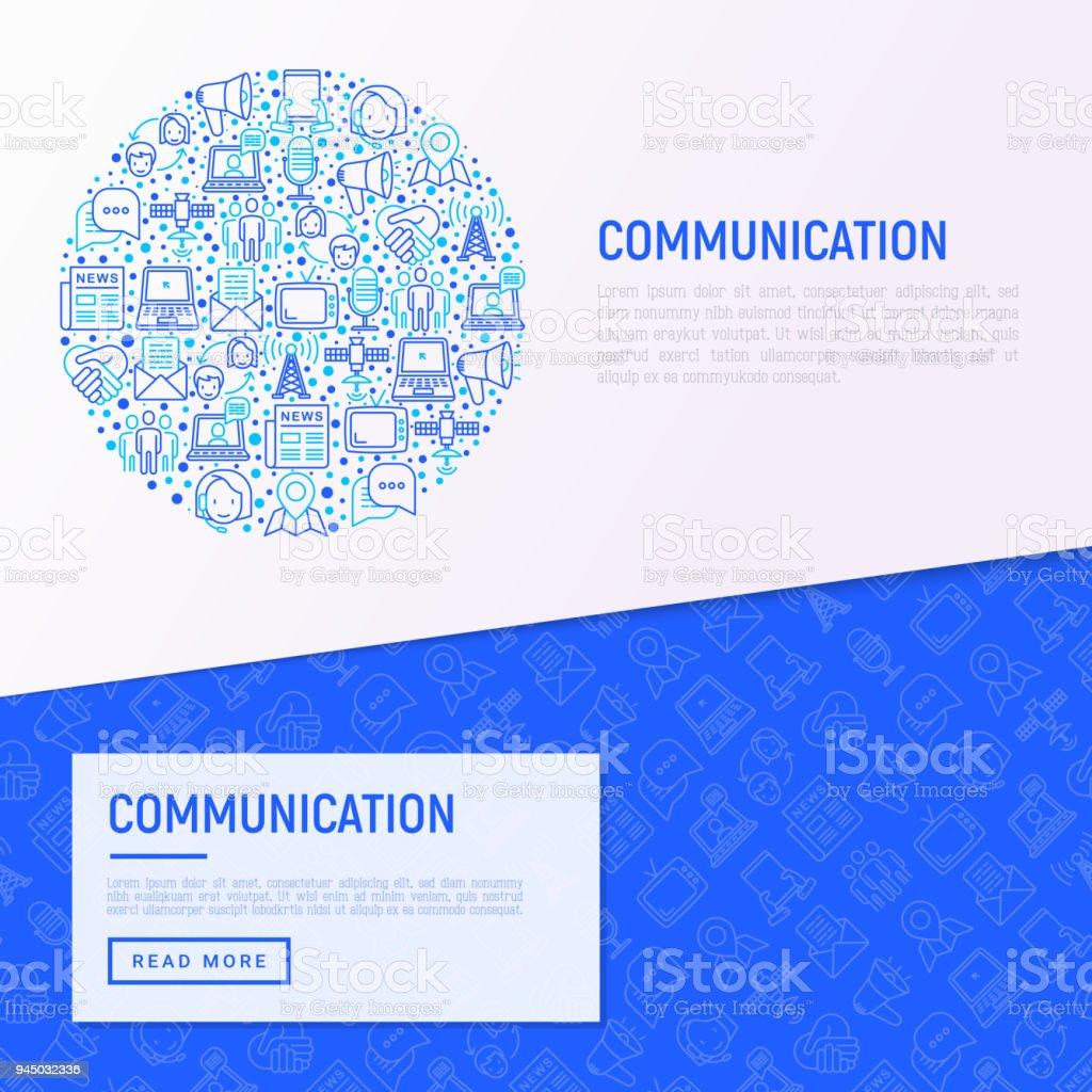 Concepto De Comunicación En Círculo Con Los Iconos De La Delgada ...