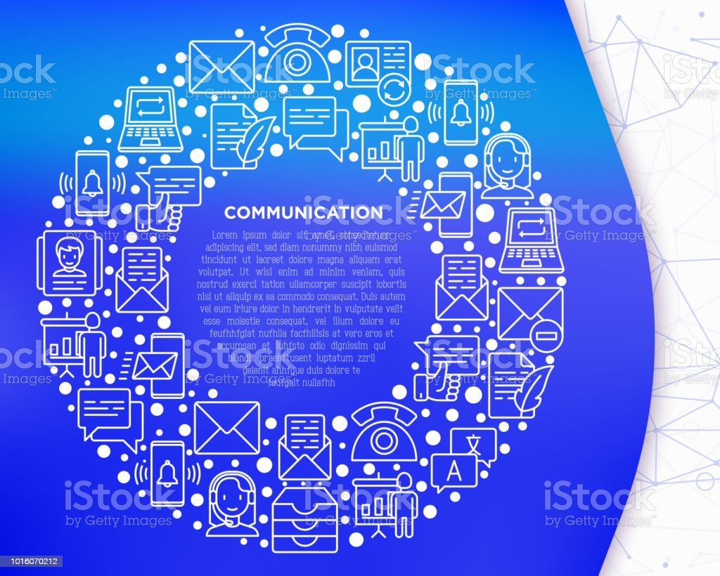 Communication concept in circle with thin line icons: email, phone, chat, contacts, comment, inbox, translator, presentation, message, screen share, support. Vector illustration, template for web page.