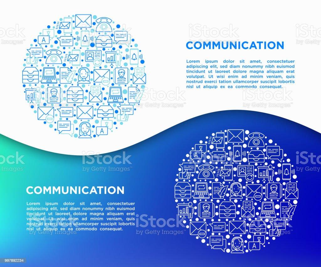 Kommunikationskonzept Im Kreis Mit Dünnen Linie Symbole Email ...