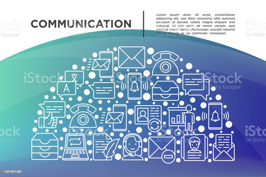 Communication concept in half circle with thin line icons: email, phone, chat, contacts, comment, inbox, translator, presentation, message, screen share, support. Vector illustration for print media.