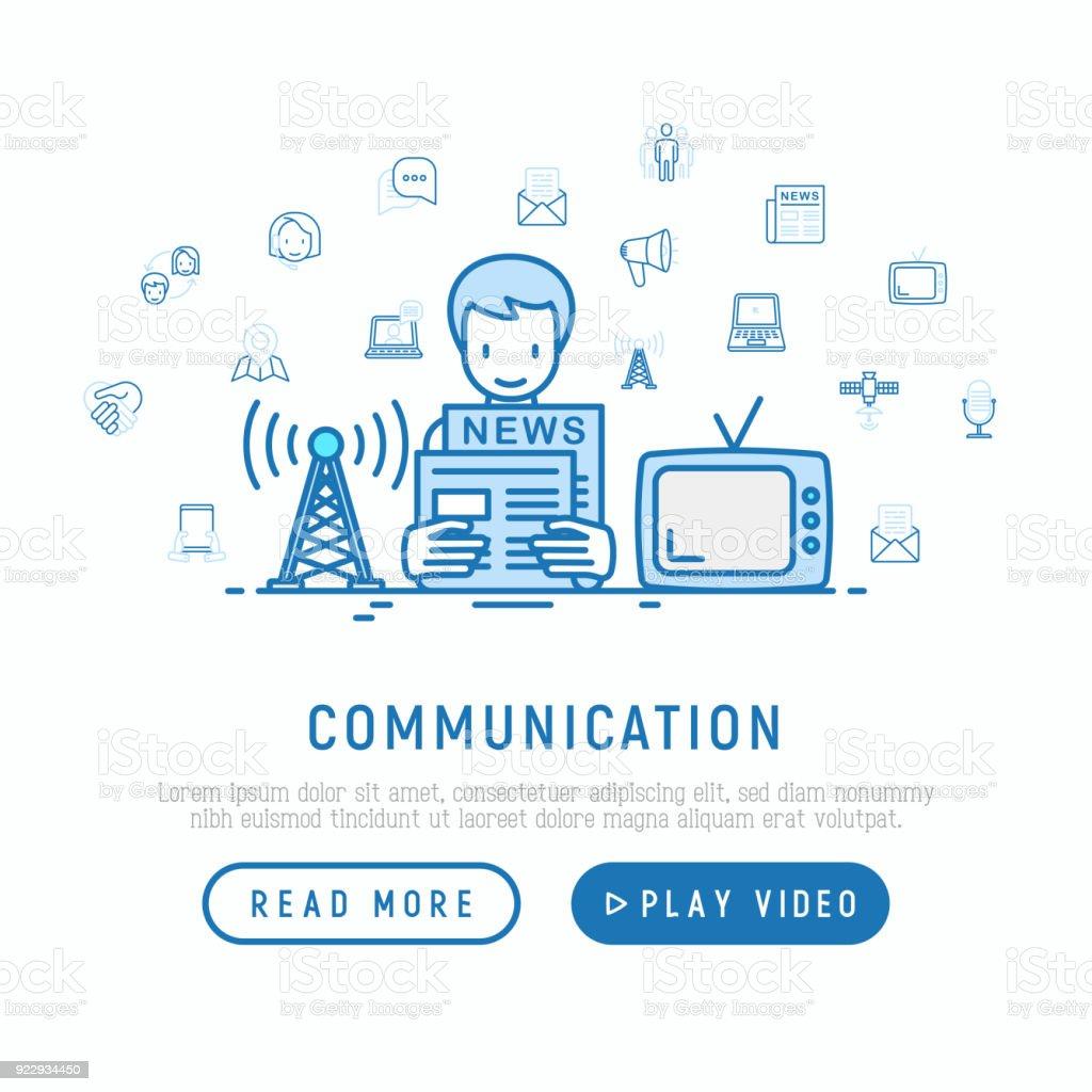 Ilustración de Concepto De Comunicación Hombre Leyendo El Periódico ...