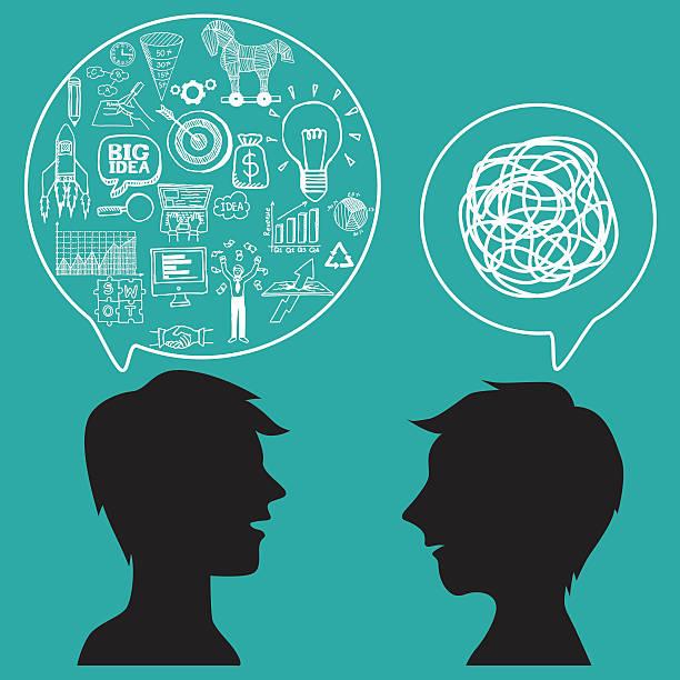 Concepto de comunicación con negocio garabatos en discurso de burbujas. - ilustración de arte vectorial