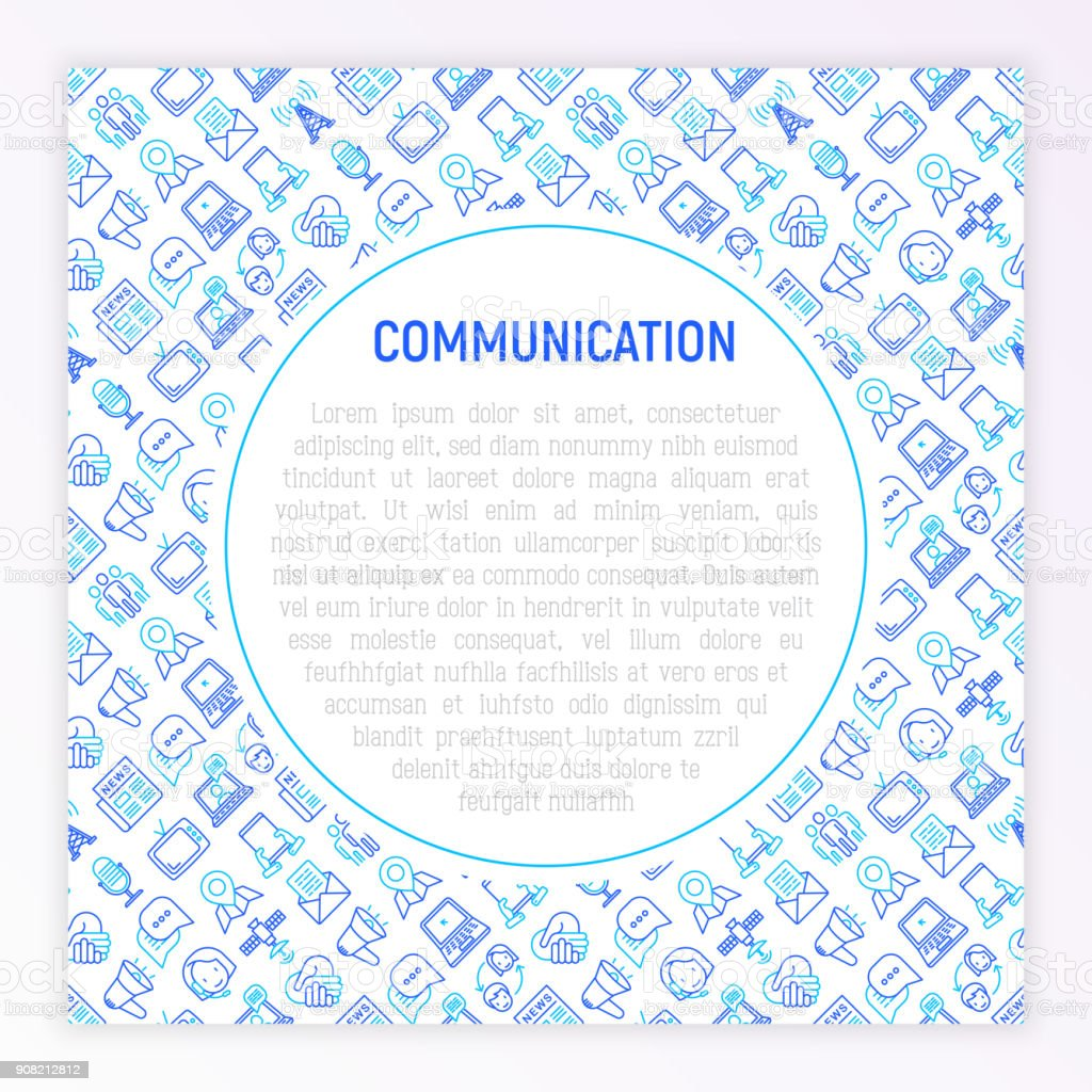 Communication concept with thin line icons: e-mail, newspaper, letter, chat, tv, support, video call, microphone. Modern vector illustration for banner, print media, web page. vector art illustration