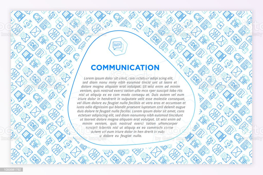 Communication concept with thin line icons: email, phone, chat, contacts, comment, inbox, translator, presentation, message, screen share, support. Modern vector illustration, template for print media