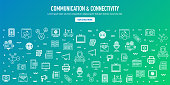 Communication, connectivity and big data outline style web banner design. Line vector icons for infographics, mobile and web designs.