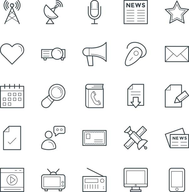 communication cool vector icons 2 - post it notes stock illustrations