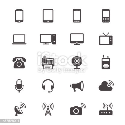 istock Communication device flat icons 487525021