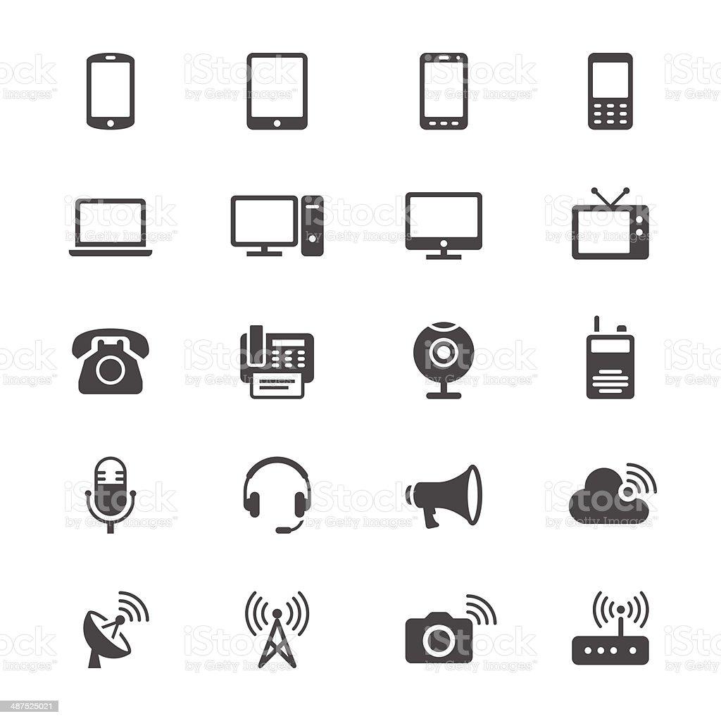 Communication device flat icons vector art illustration